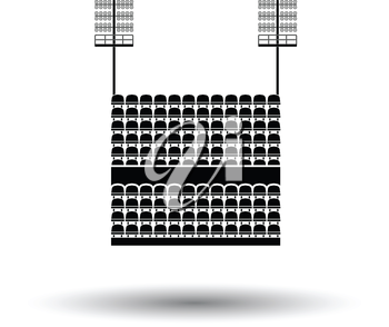 Stadium tribune with seats and light mast icon. White background with shadow design. Vector illustration.