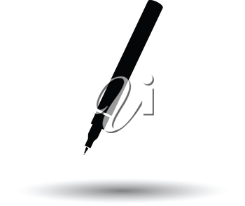 Liner pen icon. White background with shadow design. Vector illustration.