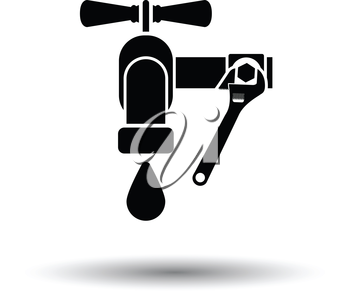 Icon of wrench and faucet. White background with shadow design. Vector illustration.