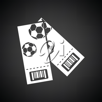 Two football tickets icon. Black background with white. Vector illustration.