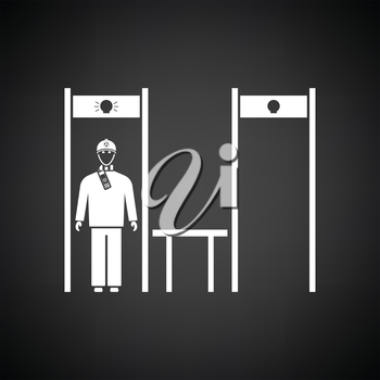 Stadium metal detector frame with inspecting fan icon. Black background with white. Vector illustration.