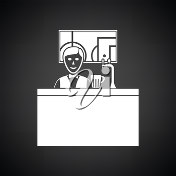 Sport bar stand with barman behind it and football translation on tv icon. Black background with white. Vector illustration.