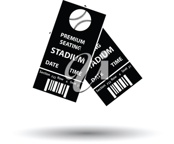 Baseball tickets icon. White background with shadow design. Vector illustration.