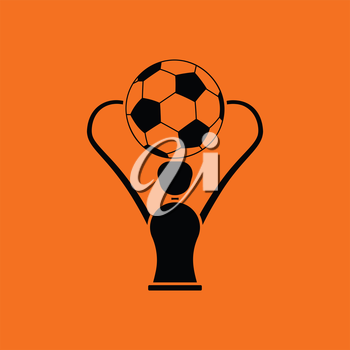 Soccer cup  icon. Orange background with black. Vector illustration.