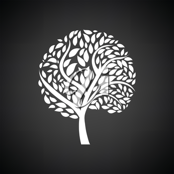 Ecological tree leaves icon. Black background with white. Vector illustration.