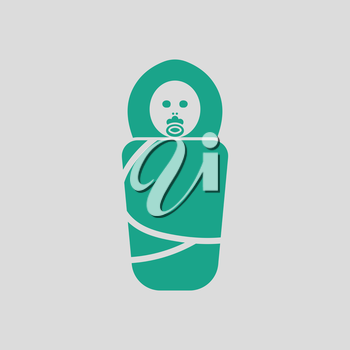 Wrapped infant ico. Gray background with green. Vector illustration.
