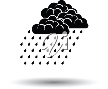 Rainfall icon. White background with shadow design. Vector illustration.