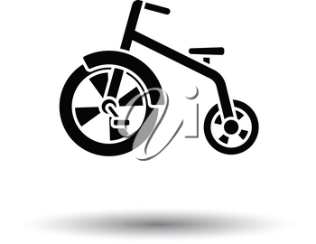 Baby trike ico. White background with shadow design. Vector illustration.