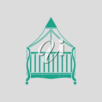 Crib with canopy icon. Gray background with green. Vector illustration.