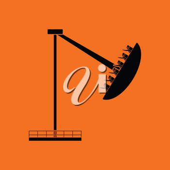 Boat the carousel icon. Orange background with black. Vector illustration.