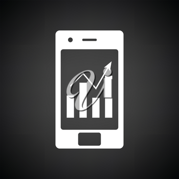 Smartphone with analytics diagram icon. Black background with white. Vector illustration.