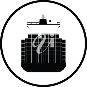 Container ship icon. Thin circle design. Vector illustration.