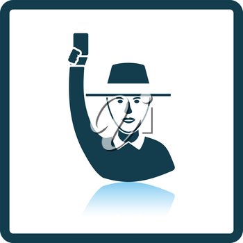Cricket umpire with hand holding card icon. Shadow reflection design. Vector illustration.