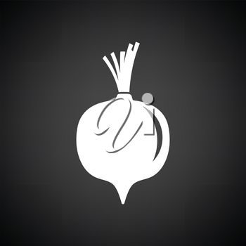 Beetroot  icon. Black background with white. Vector illustration.