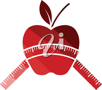 Apple with measure tape icon. Flat color design. Vector illustration.