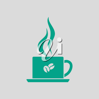 Smoking Cofee Cup Icon. Green on Gray Background. Vector Illustration.