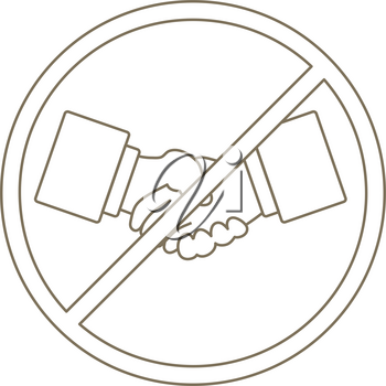 No Hand Shake Icon. Editable Stroke Simple Design. Vector Illustration.
