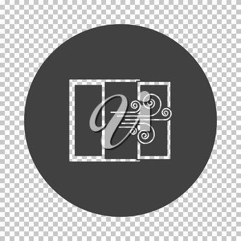 Room Ventilation Icon. Subtract Stencil Design on Tranparency Grid. Vector Illustration.
