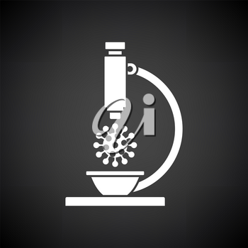 Research Coronavirus By Microscope Icon. White on Black Background. Vector Illustration.