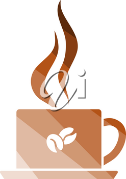 Smoking Cofee Cup Icon. Flat Color Ladder Design. Vector Illustration.