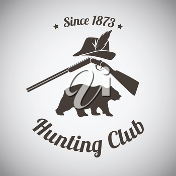 Hunting Vintage Emblem. Opened Hunting Gun With Hunter Hat and Bear Silhouette. Dark Brown Retro Style.  Vector Illustration.
