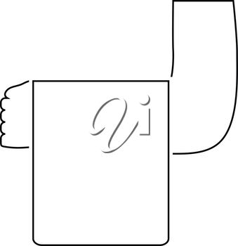 Waiter hand with towel icon. Thin line design. Vector illustration.