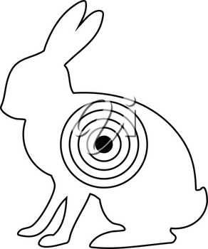 Icon of hare silhouette with target . Thin line design. Vector illustration.