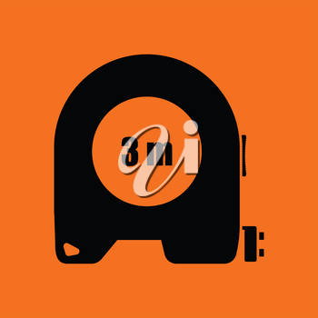 Icon of constriction tape measure. Orange background with black. Vector illustration.