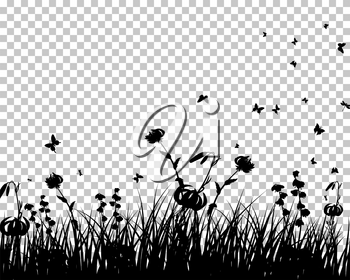Medow with grass flowers and butterflies. EPS 8 Vector illustration. All objects are separated.