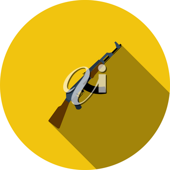 Russian Weapon Rifle Icon. Flat Circle Stencil Design With Long Shadow. Vector Illustration.