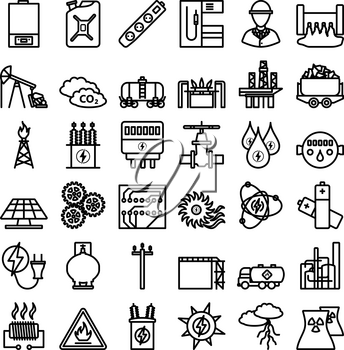 Energy Icon Set. Bold outline design with editable stroke width. Vector Illustration.