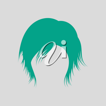 Woman Hair Dress. Green on Gray Background. Vector Illustration.