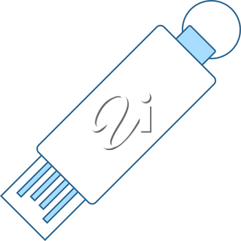 USB Flash Icon. Thin Line With Blue Fill Design. Vector Illustration.
