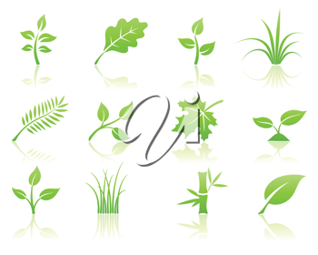 Royalty Free Clipart Image of Green Icons