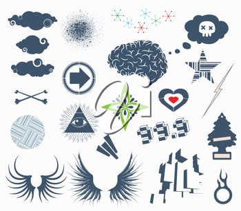 Royalty Free Clipart Image of Urban Design Elements