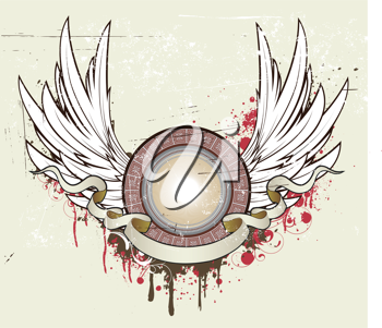 Royalty Free Clipart Image of a Shield and Banner