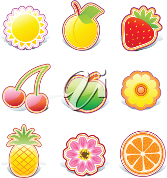 Royalty Free Clipart Image of Fruit Stickers