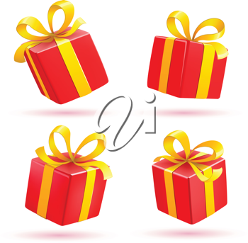 Royalty Free Clipart Image of Red Presents