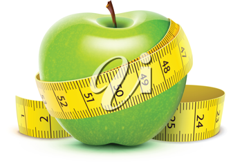 Royalty Free Clipart Image of an Apple With Measuring Tape
