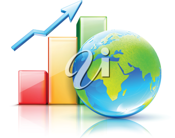 Royalty Free Clipart Image of a Chart and Planet Earth