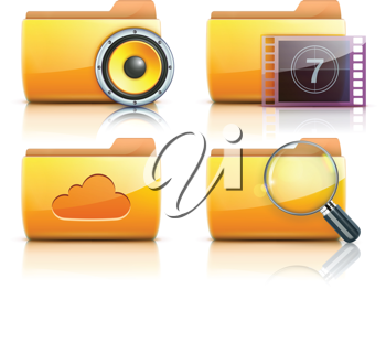 Royalty Free Clipart Image of Computer Folders