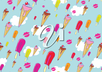 Royalty Free Clipart Image of an Ice Cream Background