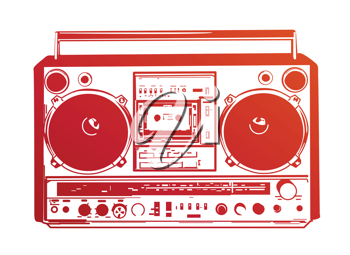 Royalty Free Clipart Image of a Vintage Boombox