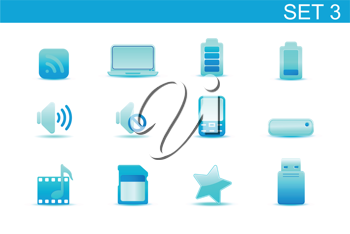 Royalty Free Clipart Image of Media Device Functions