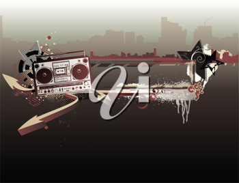 Royalty Free Clipart Image of a Boombox Background