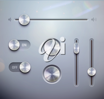 Vector illustration set of the detailed UI elements – knob, switches and slider in metallic style. Good for your websites, blogs or applications.