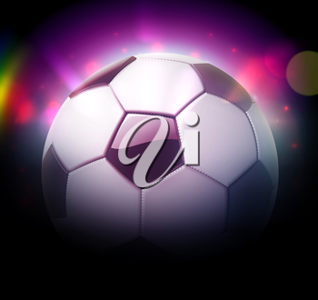 Vector illustration of detailed glossy football/soccer ball over blurred magic neon light background