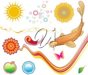 Vector illustration set of funky summer design elements. Set-3