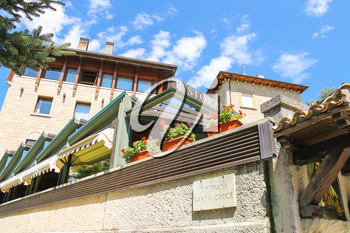 SAN MARINO. SAN MARINO REPUBLIC - AUGUST 08, 2014: Modern building restaurants in San Marino. The Republic of San