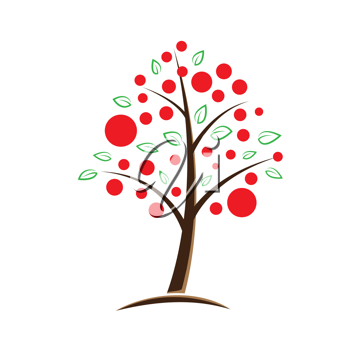 Royalty Free Clipart Image of an Apple Tree Background